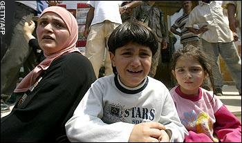 Lebanese children react to fleeing the Nahr el-Bared camp.  (Daily Telegraph)
