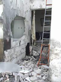 A house in Sderot destroyed by a direct rocket hit (Sderot security staff, May 16)